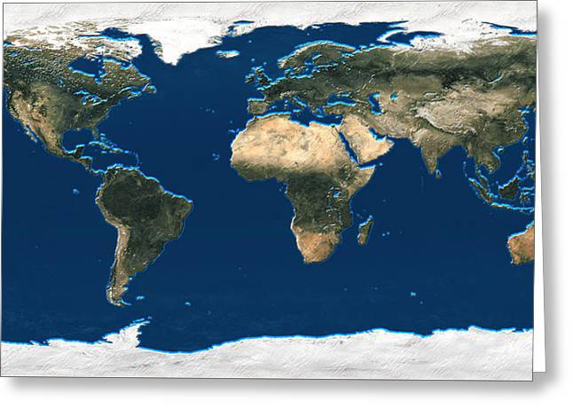 Office Space Digital Greeting Cards - 3D Earth at a Glance - Satellite Image of the World Greeting Card by Serge Averbukh