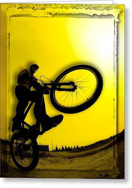 Extreme Lifestyle Greeting Cards - 3d Image Of Silhouette Of Cyclist Greeting Card by Corey Hochachka