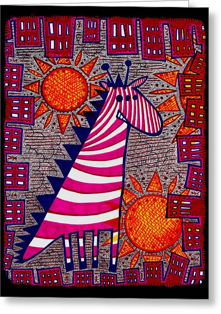 Treatment Mixed Media Greeting Cards - 3Eyed Giraffe Greeting Card by Josh Brown