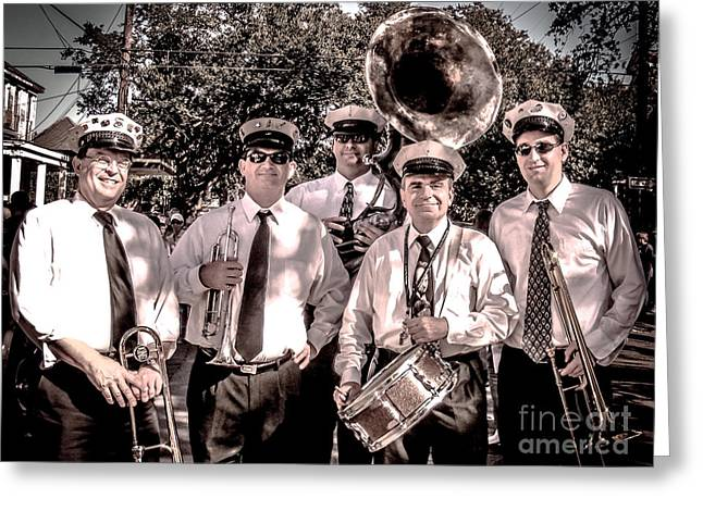 Barrel Roll Greeting Cards - 3rd Line Brass Band Greeting Card by Renee Barnes