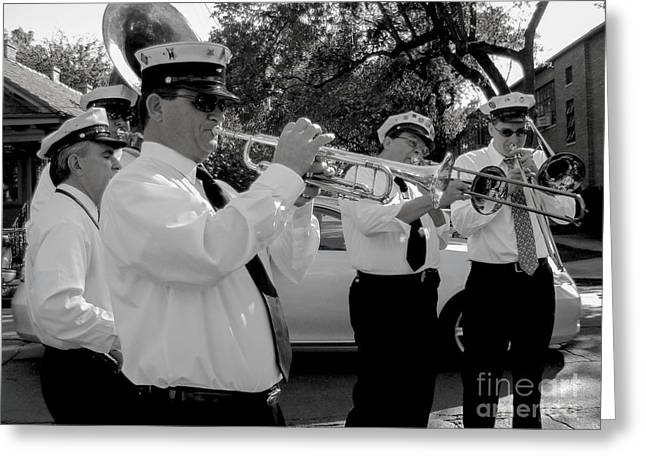 Barrel Roll Greeting Cards - 3rd Line Brass Band second line Greeting Card by Renee Barnes