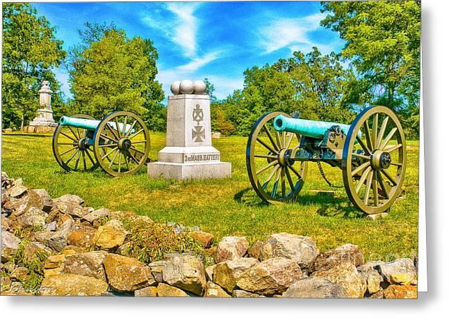 3rd Massachusetts Battery Gettysburg National Military Park Greeting Card by Bob and Nadine Johnston
