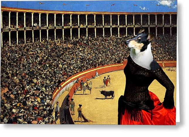 Collie Greeting Cards -  Collie Smooth - Smooth Collie Art Canvas Print Greeting Card by Sandra Sij