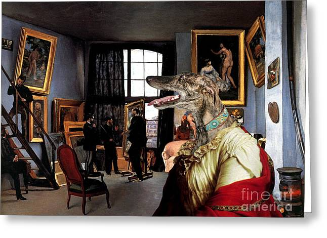 Greyhound Dog Greeting Cards -  Galgo Espanol - Spanish Greyhound Art Canvas Print Greeting Card by Sandra Sij