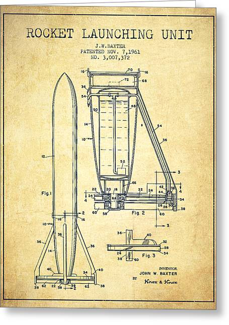 Spaceflight Greeting Cards -  Rocket Launching Unit Patent from 1961 Greeting Card by Aged Pixel