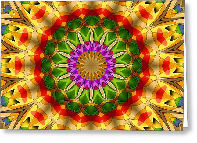 Geometric Art Greeting Cards - 16 Elements Kaleidoscope Greeting Card by Ludek Sagi Lukac