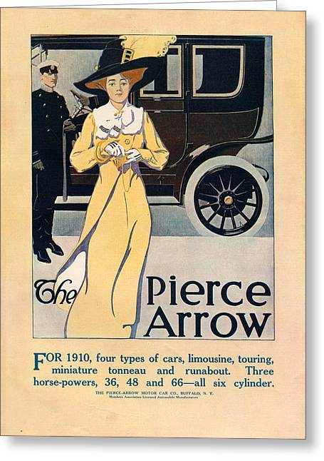 1910s Portrait Greeting Cards - 1910s Usa Pierce-arrow Magazine Advert Greeting Card by The Advertising Archives