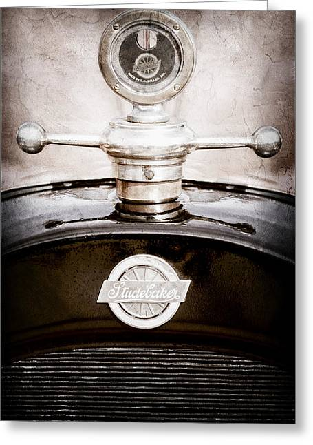 1922 Studebaker Touring Greeting Cards - 1922 Studebaker Touring Hood Ornament Greeting Card by Jill Reger