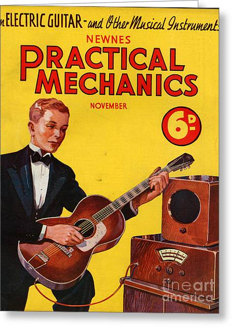 Mechanics Drawings Greeting Cards - 1930s Uk Practical Mechanics Magazine Greeting Card by The Advertising Archives