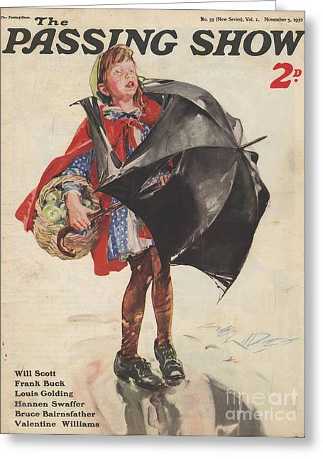 April Showers Greeting Cards - 1930s,uk,passing Show,magazine Cover Greeting Card by The Advertising Archives