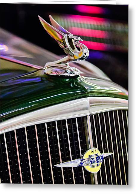 1934 Greeting Cards - 1934 Chevrolet Hood Ornament Greeting Card by Jill Reger