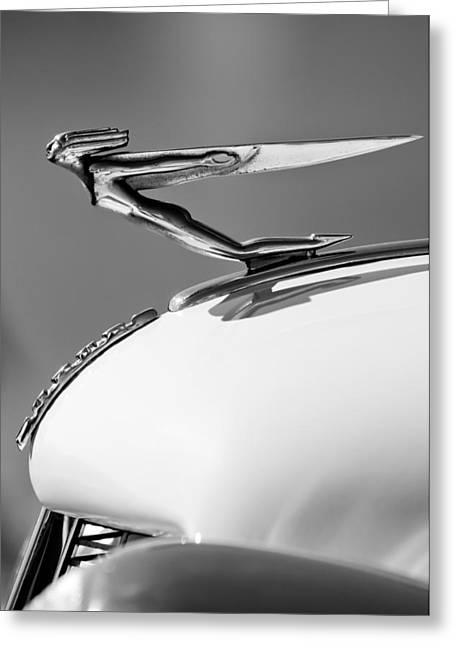 Collector Hood Ornament Greeting Cards - 1935 Auburn Hood Ornament -0297BW Greeting Card by Jill Reger