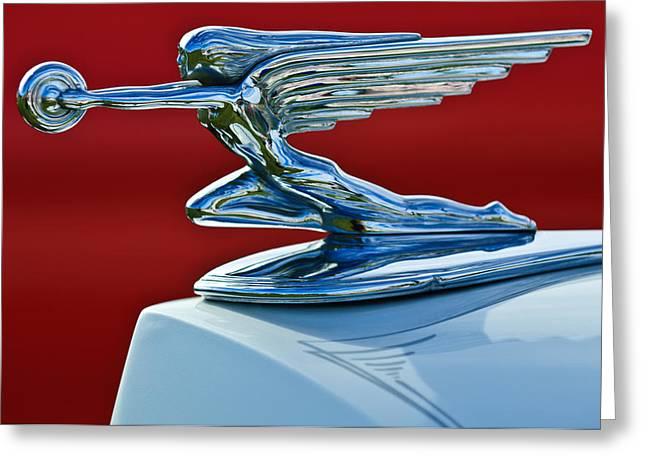 Mascot Photographs Greeting Cards - 1936 Packard Hood Ornament Greeting Card by Jill Reger
