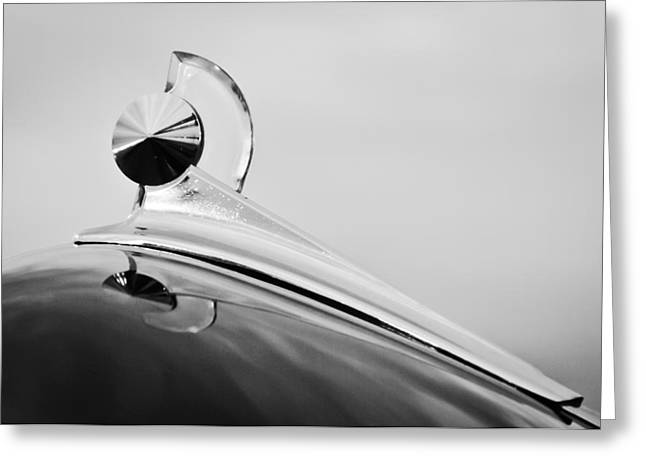 Vintage Hood Ornaments Greeting Cards - 1949 Ford Hood Ornament Greeting Card by Jill Reger