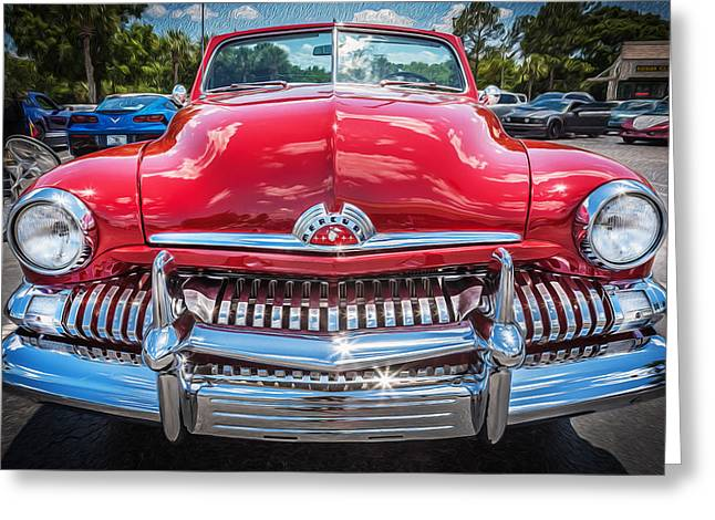 50 Merc Greeting Cards - 1951 Mercury Convertible Painted  Greeting Card by Rich Franco
