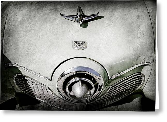 1951 Photographs Greeting Cards - 1951 Studebaker Commander Hood Ornament Greeting Card by Jill Reger