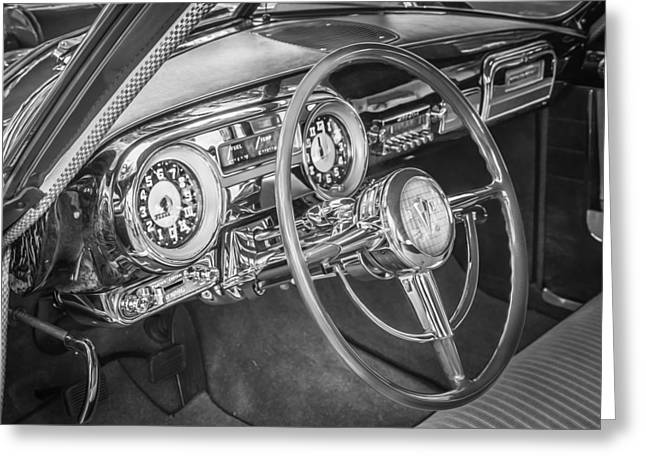 Power Twins Photographs Greeting Cards - 1952 Hudson Hornet 4 door Sedan Twin H Power painted BW  Greeting Card by Rich Franco