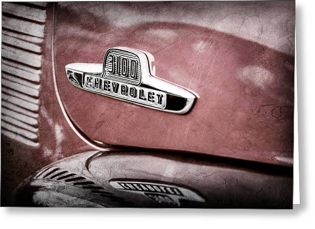 Classic Pickup Greeting Cards - 1955 Chevrolet 3100 Pickup Truck Emblem Greeting Card by Jill Reger