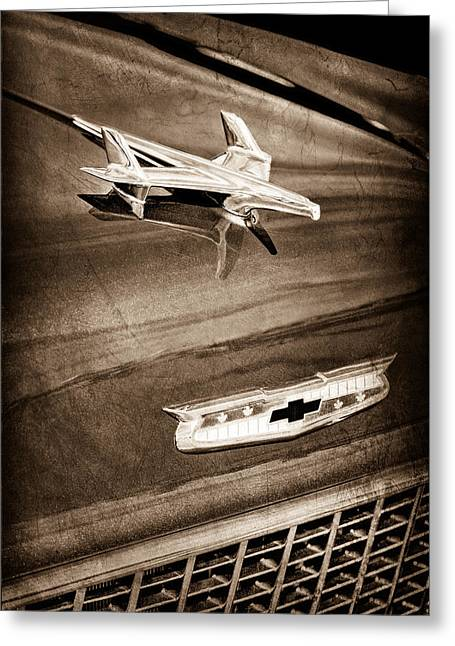 1955 Greeting Cards - 1955 Chevrolet Belair Hood Ornament Greeting Card by Jill Reger