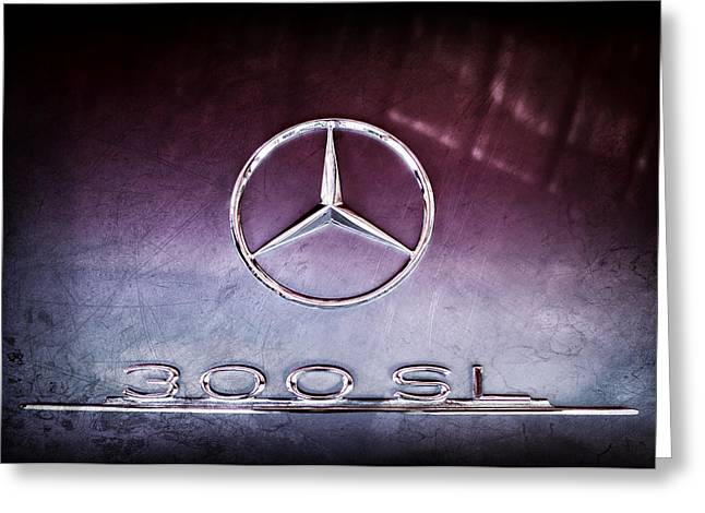 1955 Greeting Cards - 1955 Mercedes-Benz Gullwing 300 SL Emblem Greeting Card by Jill Reger