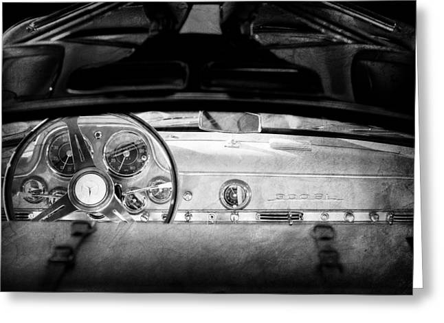 1955 Greeting Cards - 1955 Mercedes-Benz Gullwing Dashboard - Steering Wheel Greeting Card by Jill Reger