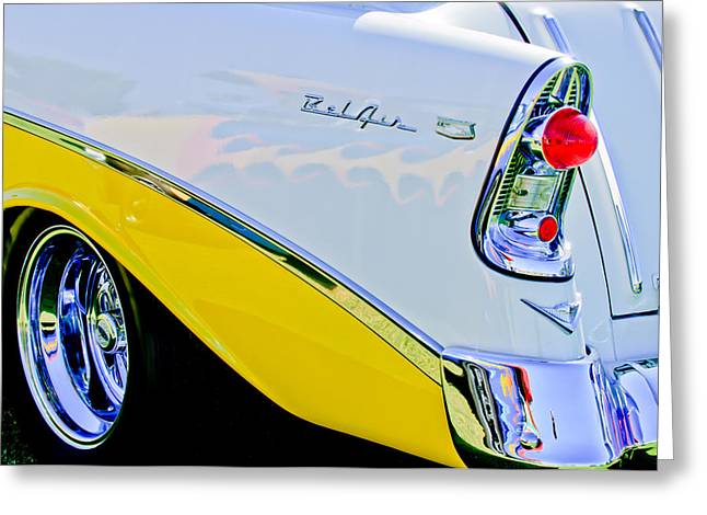 Nomads Greeting Cards - 1956 Chevrolet Belair Nomad Taillight Emblem Greeting Card by Jill Reger