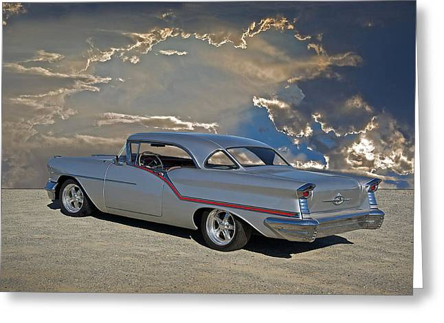 Slam Photographs Greeting Cards - 1957 Custom Oldsmobile Greeting Card by Dave Koontz