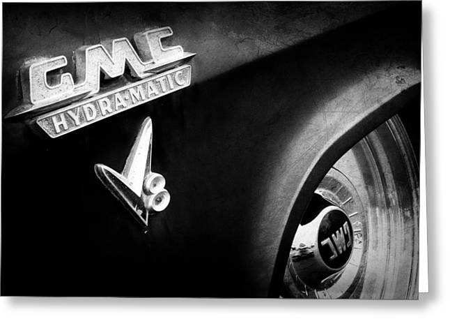 Classic Pickup Greeting Cards - 1957 GMC V8 Pickup Truck GMC Hydra-matic Emblem Greeting Card by Jill Reger