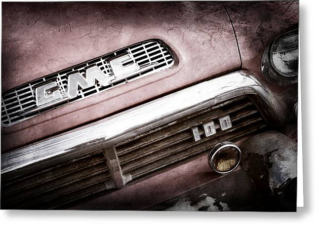 Classic Pickup Greeting Cards - 1957 GMC V8 Pickup Truck Grille Emblem Greeting Card by Jill Reger