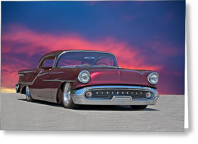 Slam Photographs Greeting Cards - 1957 Oldsmobile Custom Greeting Card by Dave Koontz
