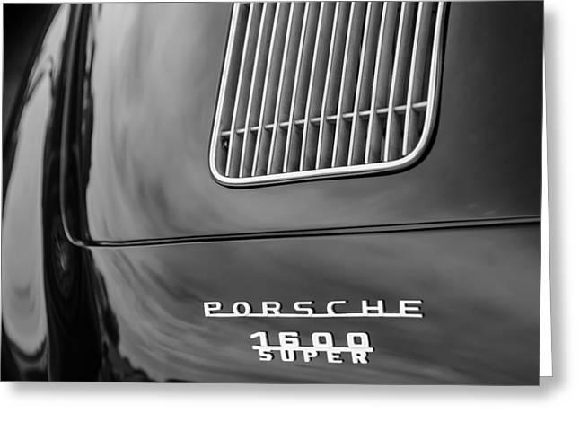 Recently Sold -  - White Photographs Greeting Cards - 1957 Porsche Speedster 1600 Super Hood Emblem Greeting Card by Jill Reger