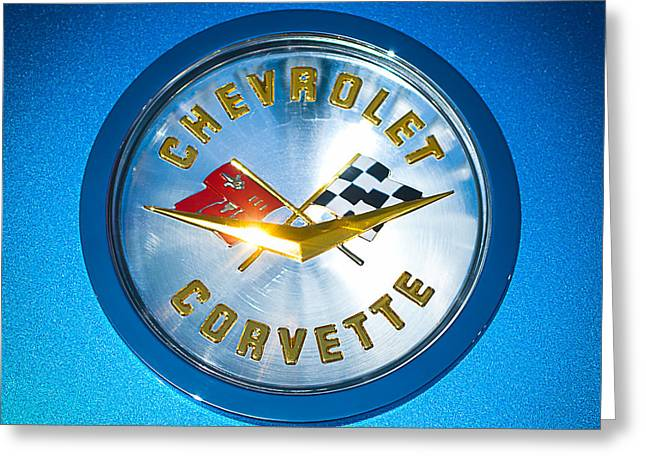 Famous Photographers Greeting Cards - 1958 Chevrolet Corvette Emblem Greeting Card by Jill Reger