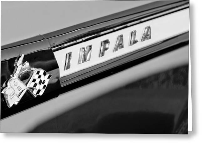 1959 Chevrolet Greeting Cards - 1959 Chevrolet Impala Emblem Greeting Card by Jill Reger