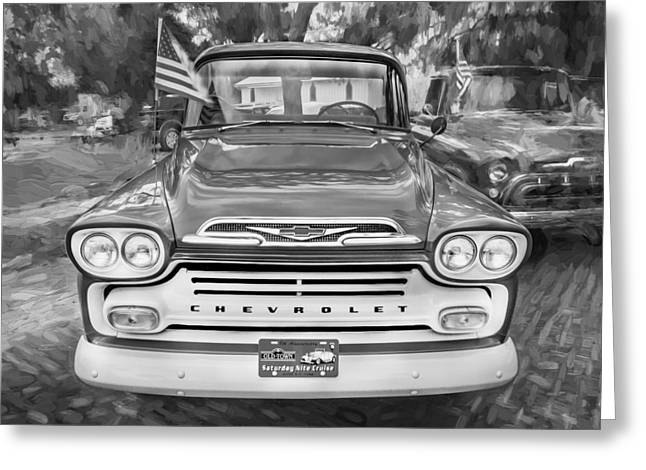 1959 Chevrolet Greeting Cards - 1959 Chevy Pick Up Truck Apache Series Painted BW  Greeting Card by Rich Franco