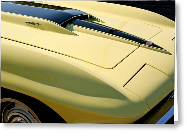 1967 Greeting Cards - 1967 Chevrolet Corvette Hood Greeting Card by Jill Reger