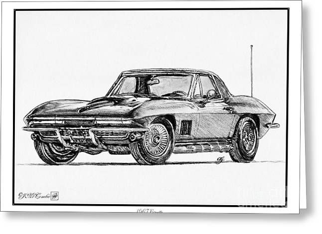 60 Inches Drawings Greeting Cards - 1967 Corvette Greeting Card by J McCombie
