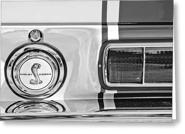 Mustang Fastbacks Greeting Cards - 1968 Ford Mustang Fastback 427 Ci - Cobra Emblem Greeting Card by Jill Reger