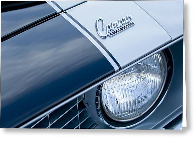 Car Photography Greeting Cards - 1969 Chevrolet Camaro Z-28 Emblem Greeting Card by Jill Reger