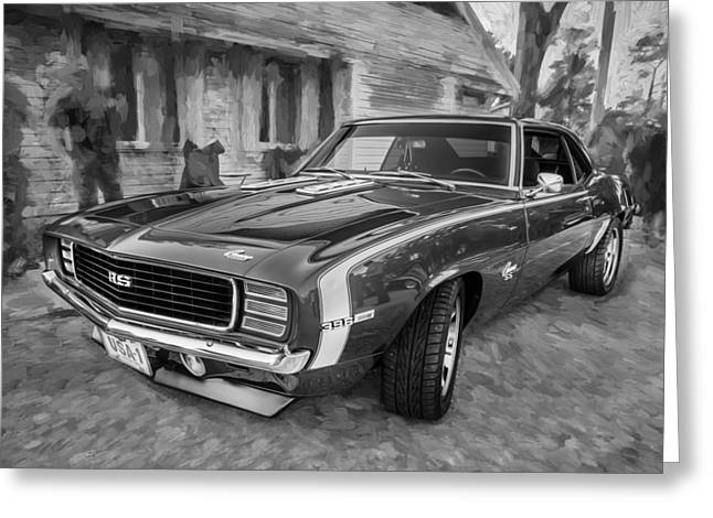 Chevrolet Camaro 396 Greeting Cards - 1969 Chevy Camaro RS Painted BW   Greeting Card by Rich Franco