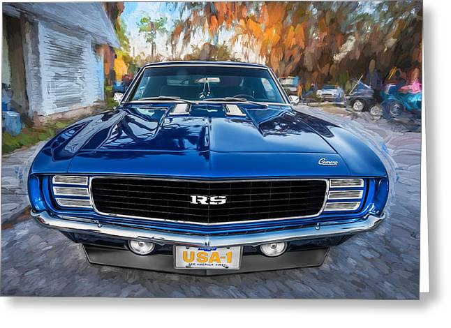 Chevrolet Camaro 396 Greeting Cards - 1969 Chevy Camaro RS Painted Greeting Card by Rich Franco