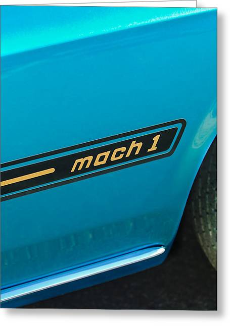 Mach 1 Greeting Cards - 1969 Ford Mustang Mach 1 Side Emblem Greeting Card by Jill Reger