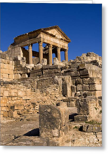 Northern Africa Photographs Greeting Cards - 2nd Century Roman Ruins, Tunisia Greeting Card by Bill Bachmann
