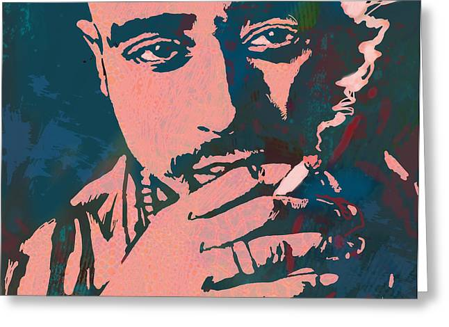 Poster For His Greeting Cards - 2pac Tupac Shakur stylised pop art poster Greeting Card by Kim Wang