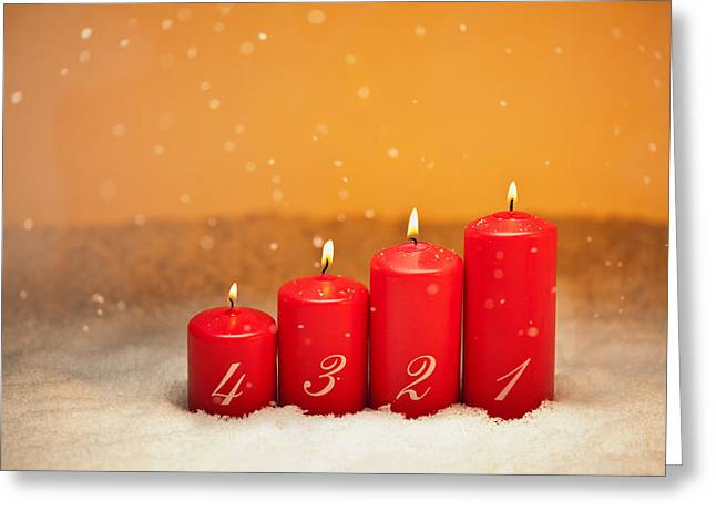 Candle Lit Greeting Cards - 4th Advent  Greeting Card by Ulrich Schade