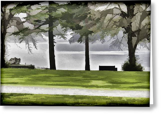 Greenery Greeting Cards - A bench and path on the shore of Loch Ness in Scotland Greeting Card by Ashish Agarwal