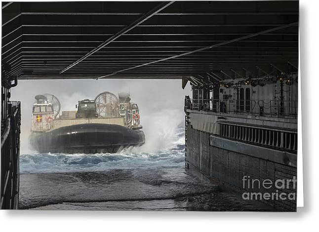 Landing Craft Greeting Cards - A Landing Craft Air Cushion Enters Greeting Card by Stocktrek Images