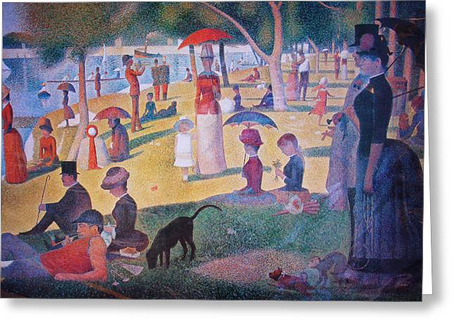 La Grande Jatte Greeting Cards - A Sunday on La Grande Jatte Greeting Card by Celestial Images