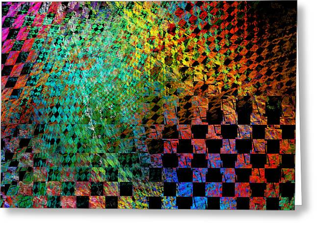 Geometric Design Greeting Cards - Abstract Checkered Pattern Fractal Flame Greeting Card by Keith Webber Jr