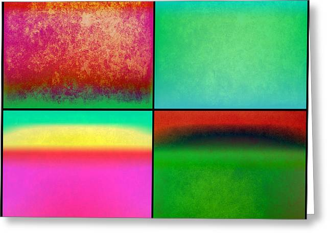 Comtemporary Art Greeting Cards - 4 Abstract Squares Greeting Card by Gary Grayson