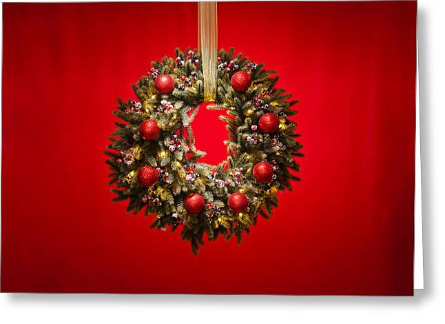 Christmas Eve Photographs Greeting Cards - Advent wreath over red background Greeting Card by Ulrich Schade